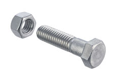 Nut and Bolt (with clipping path) royalty free stock photography
