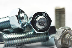 Nut and bolt close up Royalty Free Stock Image