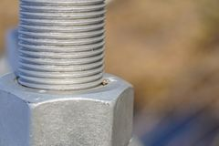 A nut and bolt close up. Focus selective royalty free stock photo
