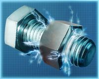 Nut and bolt with electrical effects. A nut and bolt with electrical effects Royalty Free Stock Photo