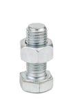 Nut on bolt. Isolated on white stock photo
