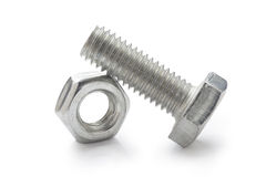 Nut and bolt. Isolated on a white background Stock Photo