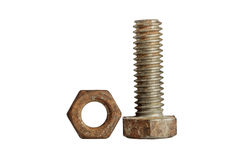 Nut and bolt isolated on white background,clipping path. Royalty Free Stock Images