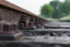 Nut and bolt on railway track. Low perspective on an old railway track. rusted nuts and bolts on old railway sleepers royalty free stock images