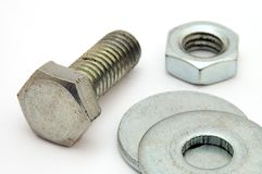 Nut bolt and washers Stock Image