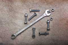 Nut Bolt and Wrench Stock Image