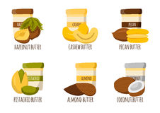 Nut butter types. Nuts butter types. Healthy snack, breakfast, lunch. Natural organic raw food concept. Organic store, market. High-calorie food. Vegan royalty free illustration
