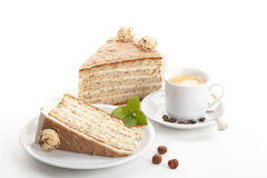 Nut cake with coffee isolated Stock Image