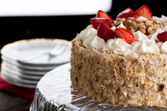 Nut cake with strawberry Stock Image