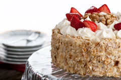 Nut cake with strawberry Royalty Free Stock Images