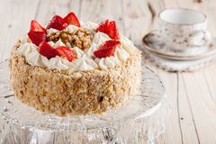 Nut cake with strawberry Royalty Free Stock Photos