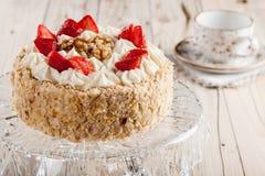 Nut cake with strawberry Royalty Free Stock Photos