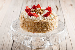 Nut cake with strawberry Stock Photo
