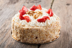 Nut cake with strawberry Stock Images