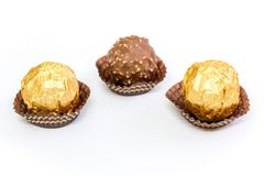 Nut Chocolate Balls in White Background royalty free stock image