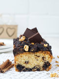 Nut and chocolate cake with cinnamon.  Royalty Free Stock Photography
