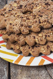 Nut cookie of the home baking. Delicious cookie of the home baking with nuts stock photo