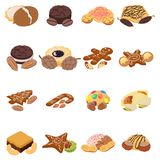 Nut cookie icons set, isometric style. Nut cookie icons set. Isometric set of 16 nut cookie vector icons for web isolated on white background stock illustration