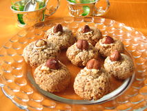 Nut cookies. On a glass plate Stock Images
