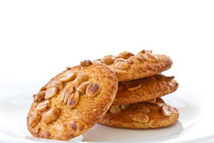 Nut cookies with peanuts. On white background stock photos