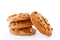 Nut cookies with peanuts. On white background stock image