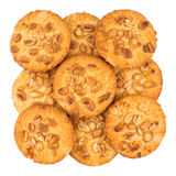 Nut cookies on white background. Top view Royalty Free Stock Photo