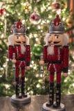 Nut cracker and Christmas tree Stock Photo