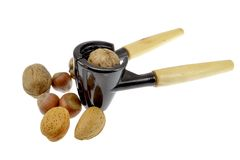 Nut cracker with nuts Royalty Free Stock Photography