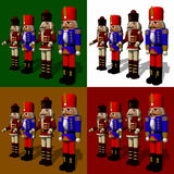 Nut Crackers. On four different background colors royalty free illustration