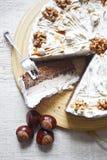 Nut cream cake stock photos