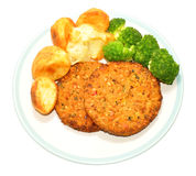 Nut Cutlet And Roast Potato Meal Royalty Free Stock Photos