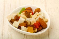Nut and dry fruits. Nut and dry fruit mix Stock Image