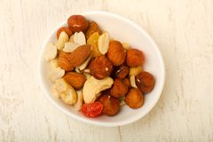 Nut and dry fruits. Nut and dry fruit mix Stock Photos