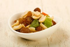 Nut and dry fruits. Nut and dry fruit mix Royalty Free Stock Images