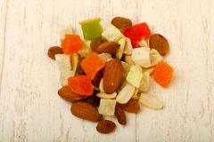 Nut and dry fruits. Nut and dry fruit mix Royalty Free Stock Photography