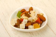 Nut and dry fruits. Nut and dry fruit mix Stock Photography