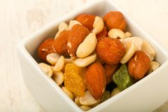 Nut and dry fruits. Nut and dry fruit mix Royalty Free Stock Image
