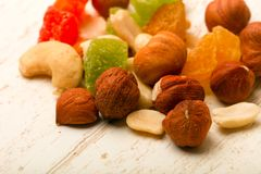Nut and dry fruits. Nut and dry fruit mix Royalty Free Stock Photos