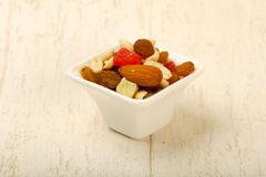 Nut and dry fruits. Nut and dry fruit mix Royalty Free Stock Photo