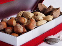Nut Giftbox, close. A giftbox of assorted nuts. On a white background Royalty Free Stock Images