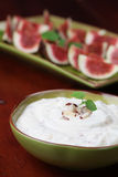 Nut and honey cheese dip with figs Royalty Free Stock Photos