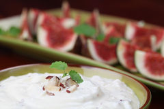 Nut and honey cheese with figs Stock Photo