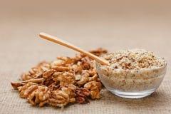 Nut kernel and ground walnut Royalty Free Stock Image