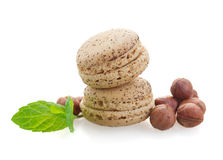 Nut macaroons with hazelnuts Royalty Free Stock Images