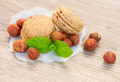 Nut macaroons with hazelnuts Stock Images