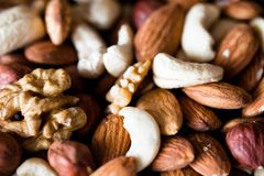 Nut mix. Nuts mix background close up Stock Image