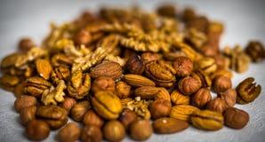 Nut mix almonds hazelnut pecan nuts royalty free stock photo