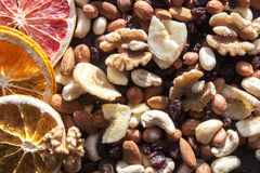 Nut mix. With cashew nuts, walnuts, almonds, dry banana and etc. near dry fruits Stock Photo