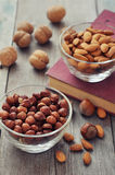 Nut mix in glass bowls Royalty Free Stock Image