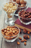 Nut mix in glass bowls Stock Photography